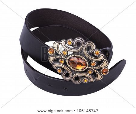 Black Lleather Belt With Decorative Buckle