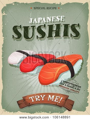 Grunge And Vintage Japanese Sushis Poster