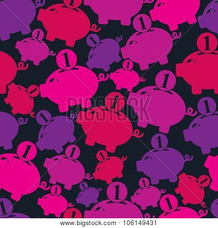 Seamless Vector  Backdrop With Piggybank Symbol, Financial Theme. Personal Savings Concept. Economic
