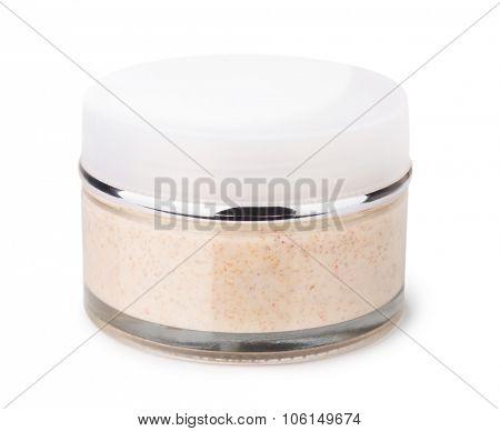 Body scrub jar isolated on white