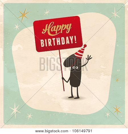 Vintage style funny 1st birthday Card  - Editable, grunge effects can be easily removed for a brand new, clean sign.