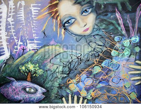 Abstract Picture With Fish And Blue-eyed Red-haired Girl.