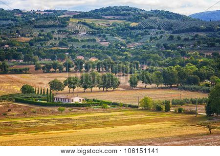 Umbria, Italy, Rural Landscape With The Small House