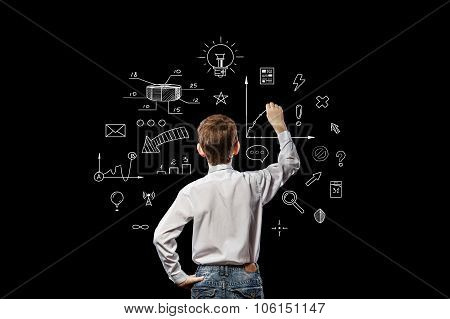 Boy Standing And Draws Idea