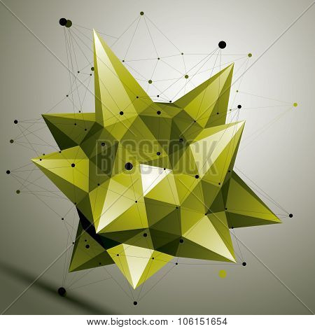 3D Vector Abstract Design Object, Polygonal Complicated Figure. Bright Deformed Shape, Render.