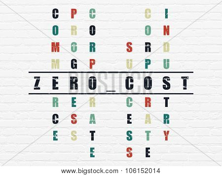 Finance concept: Zero cost in Crossword Puzzle