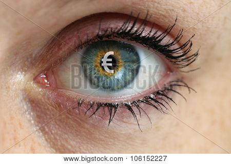 Eye With Euro Sign Concept In The Pupil