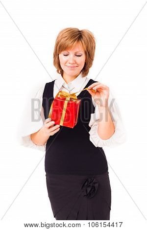 Smiling woman with small gift box