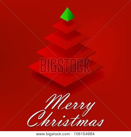 Abstract Red Christmas Tree On Red Background
