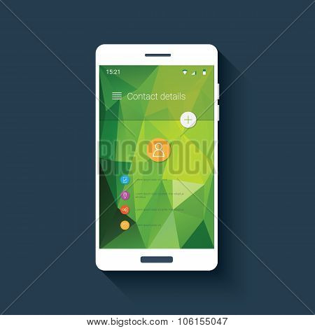 Mobile ui with contact screen app icons. Smartphone application low poly vector background