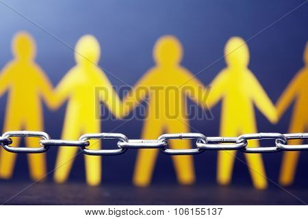 Refugee Concept. People Against Chain