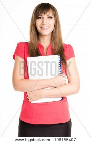 Young Happy Woman Holding Exercise Book Or Course Book