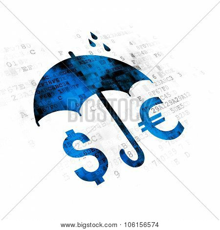 Privacy concept: Money And Umbrella on Digital background