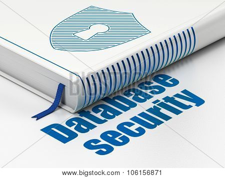 Protection concept: book Shield With Keyhole, Database Security on white background