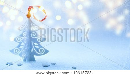 Art Christmas Background With Christmas Tree ,snow And Snowflakes