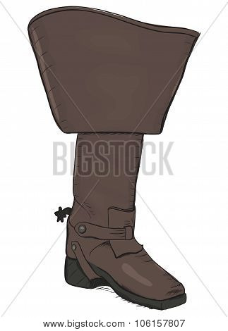 Old style boot with spurs. EPS8 vector