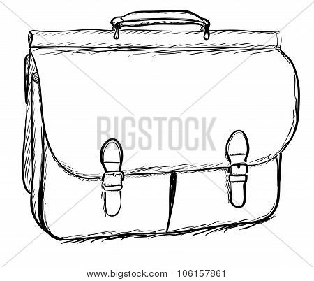 Leather briefcase on white background. EPS8 vector