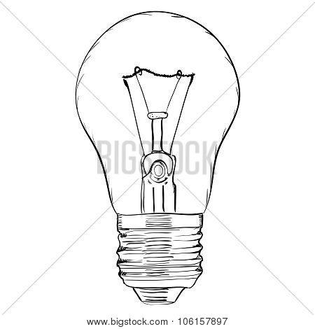 Hand-drawn light bulb on white background. EPS8 vector