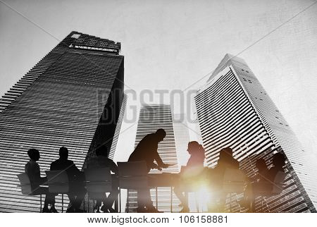 Silhouettes of Business People Meeting Outdoors Concept