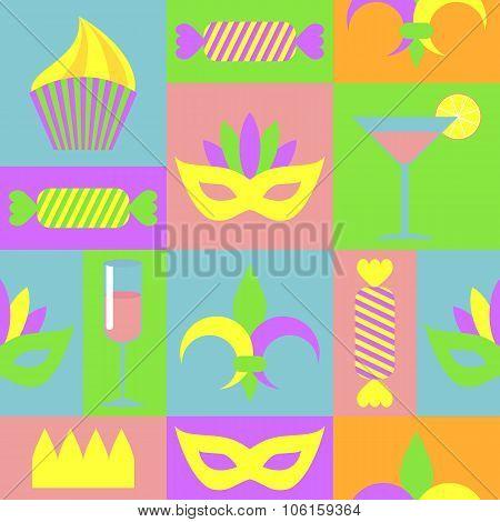 Colored Seamless Pattern To Mardi Gras