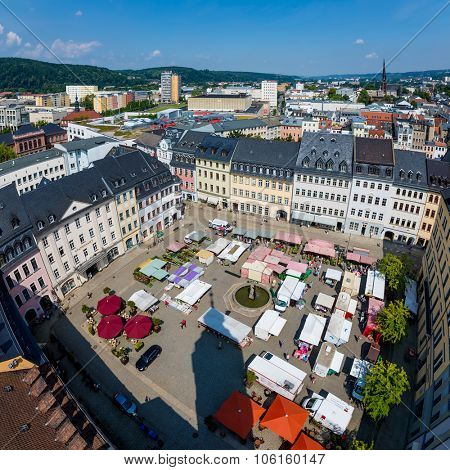 MUNICH, GERMANY - JULY 15, 2015: Aerial view from the marketplace in Munich. Munuch is the capital and largest city of the German state of Bavaria