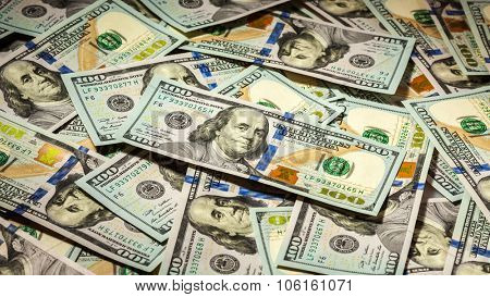 Business finance concept background panorama of hundred dollars bank notes bills of new 2013 year edition