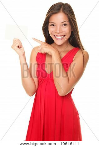 Sexy Beautiful Smiling Woman Pointing At Sign Card
