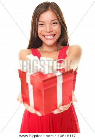 Valentines Woman Showing Gift On White Background