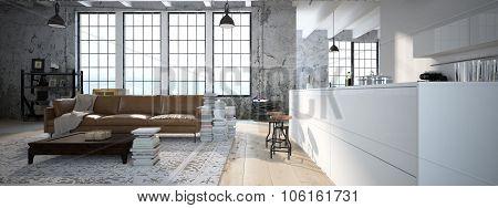 Modern loft with a kitchen .3d rendering