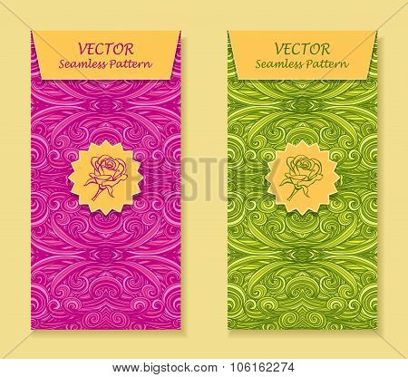 Set Vertical banners with abstract waves in magenta light green