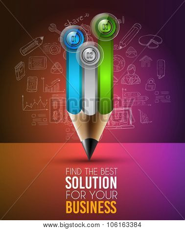 Best Business Solution Infographic Layout Template for data and information analysis with a number of solutions available. Ideal for product presentation, item ranking, ideas evaluation and so on.