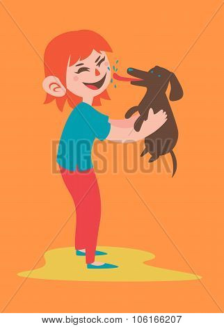 Happy Girl Holding Her Dog