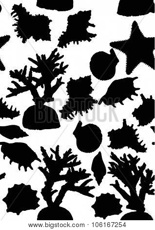 illustration with seamless background from sea invertebrate silhouettes