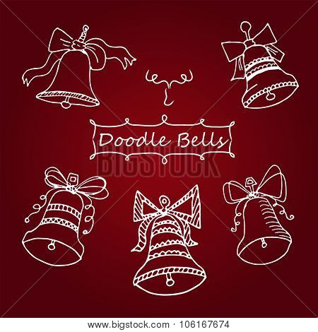Vector Set Of Icons Unique Christmas Bells In Doodle Style