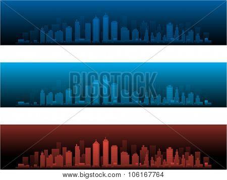 City Skylines in three night versions