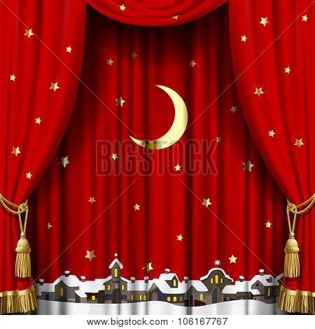Christmas and New Year red curtain with a town skyline in snow down, gold moon and stars. Square theater and Christmas background. Artistic poster