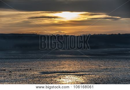 A sunset over the Eden estuary in Scotland