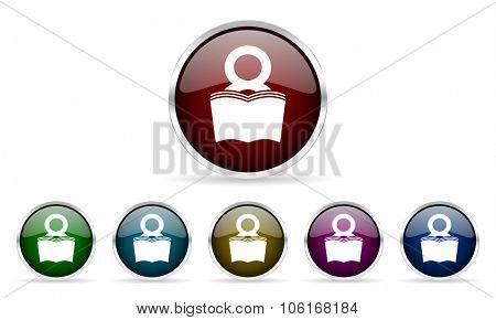 book colorful glossy circle web icons set