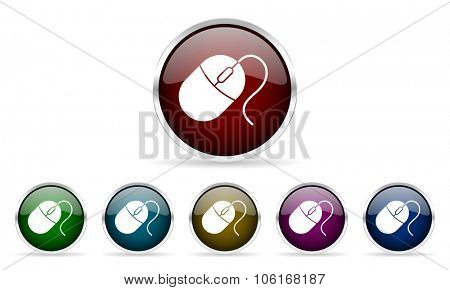 mouse colorful glossy circle web icons set