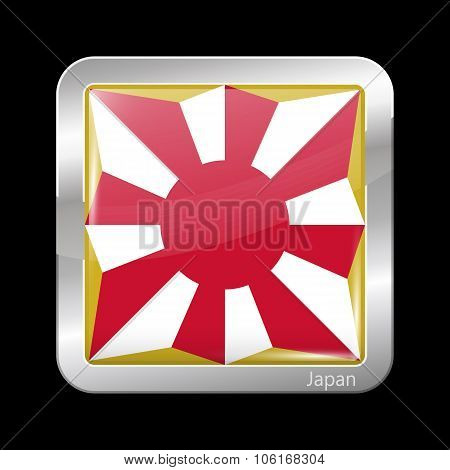 Flag Of Japan. Metallic Icon Square Shape