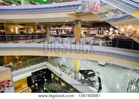 MOSCOW, RUSSIA - MARCH 05 2015: Interior Furniture shopping complex Grand. Furniture shopping mall G