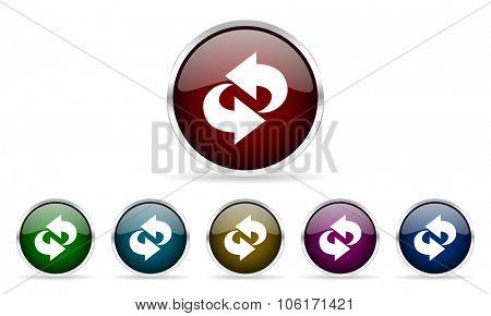 rotation colorful glossy circle web icons set