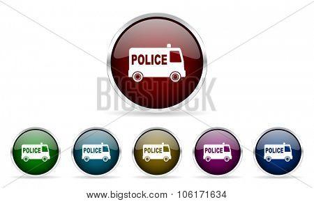 police colorful glossy circle web icons set