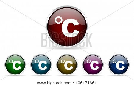 celsius colorful glossy circle web icons set