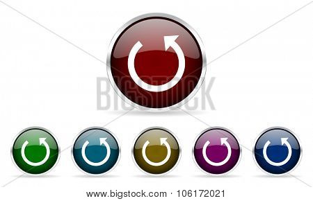 rotate colorful glossy circle web icons set