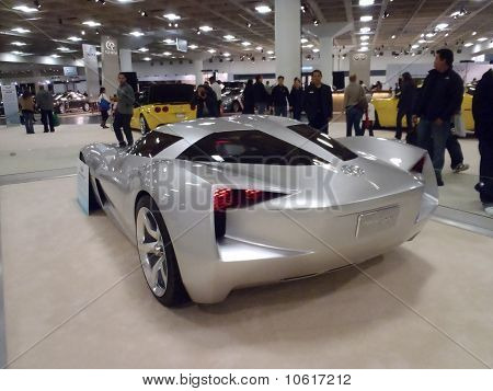 People Look At Chevy Concept Car The Stingray On Display