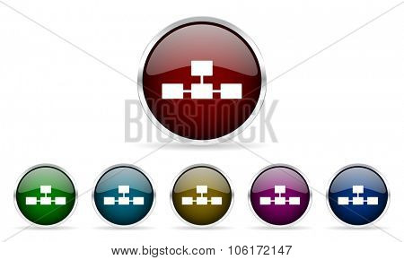 database colorful glossy circle web icons set