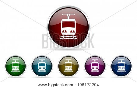 train colorful glossy circle web icons set