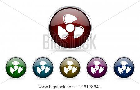 fan colorful glossy circle web icons set