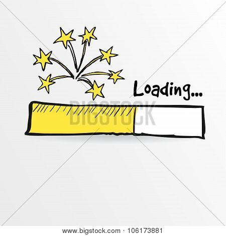 Loading Bar With Fireworks, New Year, Anniversary Or Party Concept, Vector